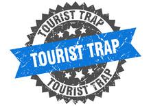 Tourist Trap Grunge Stamp With Blue Band. Tourist Trap