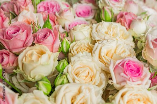 Bouquet of flowers - a composition of pink and white roses. Background for the postcard. © IKvyatkovskaya