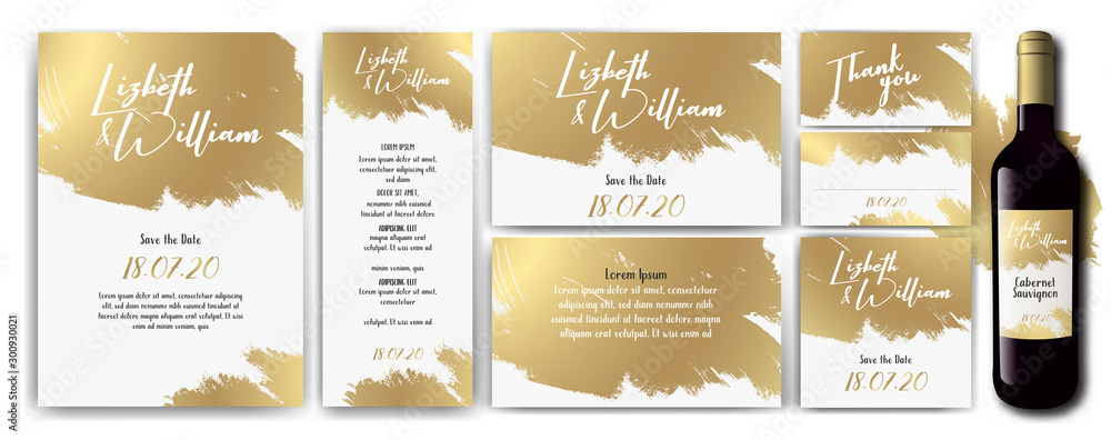 Fototapeta wedding-invite-backgrouns-white-gold