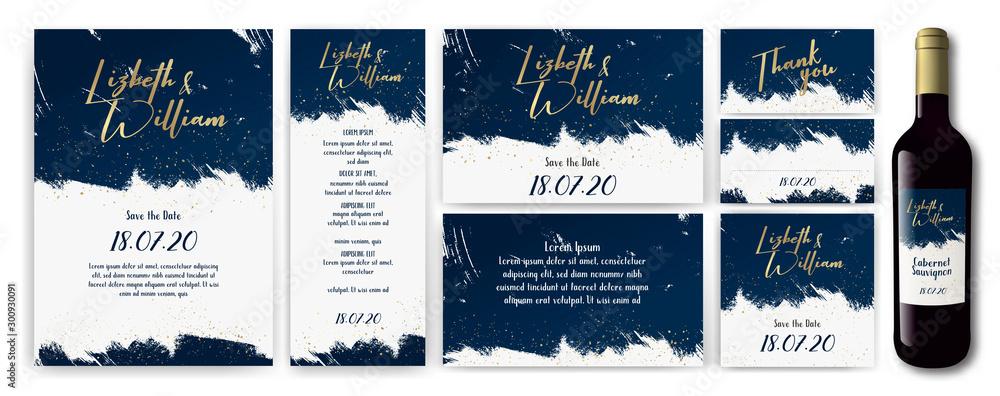 Fototapety, obrazy: wedding-invite-backgrouns-blue-gold