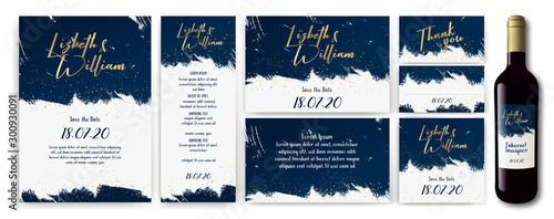 Stampa su Tela wedding-invite-backgrouns-blue-gold