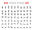 Big yoga poses asanas icons set. Vector illustrations. For logo yoga branding. Yoga people infographics. Stick figures. Pilates stretch gymnastics fitness poses