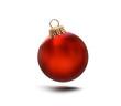 canvas print picture - Glänzend Rote Weihnachtskugel am Band isoliert auf weissem Hintergrund