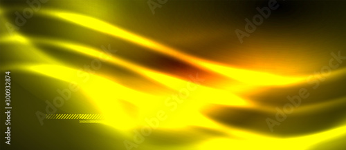 Neon abstract waves background. Shiny lights on bright colors with design elements. Futuristic or technology template illustration, hi-tech concept