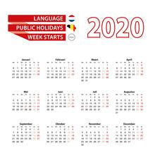 Calendar 2020 In Dutch Languag...