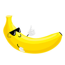 Fruit Characters. Vector Illustration Of A Cool Cartoon Yellow Banana Wearing Sunglasses And Doing A Thumbs Up