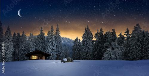 Fototapeta Gemütliche Holzhütte mit Beleuchtetem Fenster in Wnterwald bei Nacht im Winter obraz