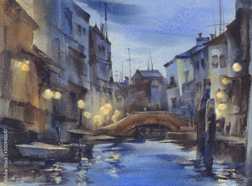 Venice at night watercolor landscape. Venetian nocturne