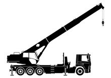 Mobile Crane. Silhouette Of A Crane On A White Background. Side View. Flat Vector.