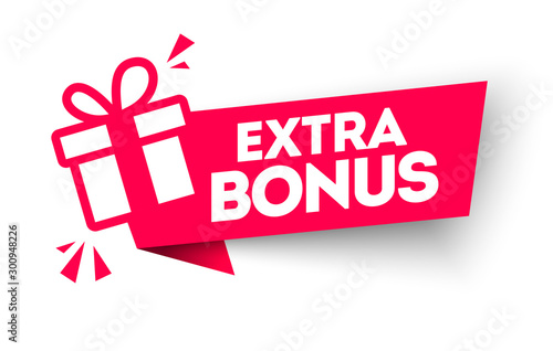 Foto Vector Illustration Red Extra Bonus Label