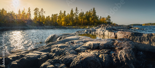 Fototapeta Beautiful panorama of a rocky shore