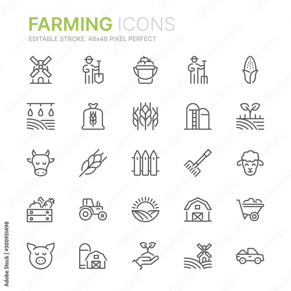 Fototapeta Collection of farming related line icons. 48x48 Pixel Perfect. Editable stroke