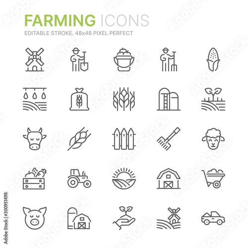 Collection of farming related line icons. 48x48 Pixel Perfect. Editable stroke Fototapete