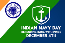 Navy Day In India Is Celebrated On 4 December Every Year. Vector Illustration. Background, Poster, Greeting Card, Banner Design.
