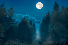 A Hiking Trail On A Ridge In Germany. It Is Night And The Full Moon Is Over The Way. It Is Foggy And The Scenery Is Bathed In Mist.