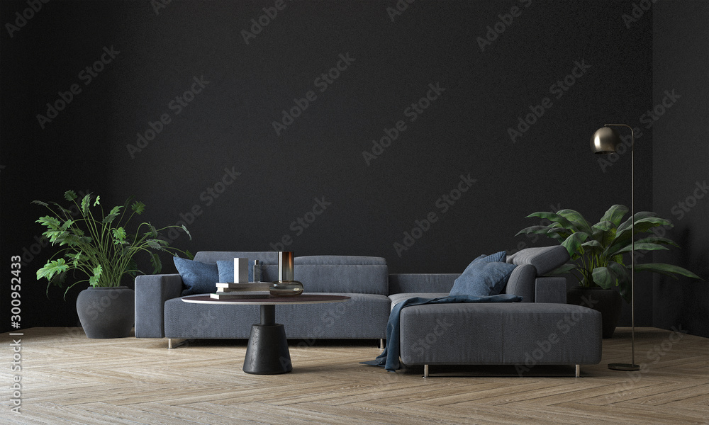 Fototapety, obrazy: Modern interior living room design and black wall pattern texture background