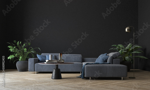 Obraz Modern interior living room design and black wall pattern texture background  - fototapety do salonu