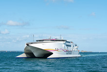 The Condor Ferry Arrives In The Port Of Saint-Malo On The Coast Of Brittany