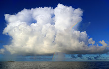 Rainbow And White Lush Cloud Over The Indian Ocean, Maldives