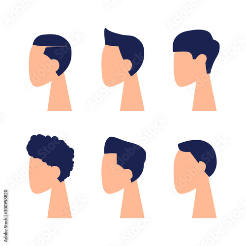 Vászonkép  The heads and faces of men in a minimalist style