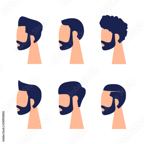 Fényképezés  The heads and faces of men in a minimalist style