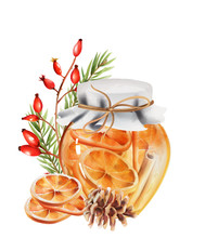 Honey Jar With Orange Slices And Cinnamon Sticks Inside. Pine Cone, Fir Tree Leaves And Red Berries Decorations