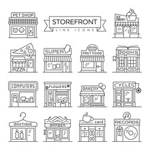Storefront Thin Line Icons Vector Collection