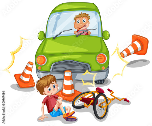 Canvas Prints Kids Accident scene with car crashing a bike