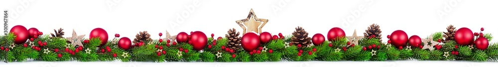 Fototapety, obrazy: Extra wide Christmas border with fir branches, red and silver baubles, pine cones and other ornaments, isolated on white