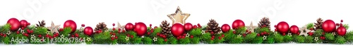 Fotografie, Obraz  Extra wide Christmas border with fir branches, red and silver baubles, pine cone