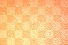 格子と波模様の和風背景
