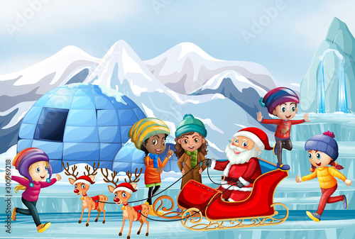 Spoed Foto op Canvas Kids Scene with Santa and children on sleigh
