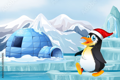 Poster Jeunes enfants Scene with penguin wearing chrismas hat