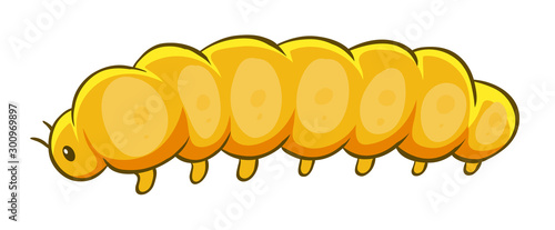 Tuinposter Kids Yellow caterpillar on white background