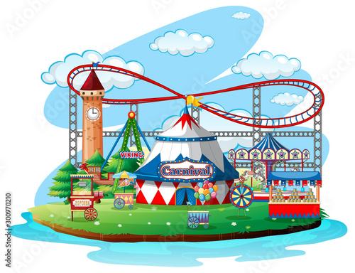 Papiers peints Jeunes enfants Fun fair theme park on isolated background