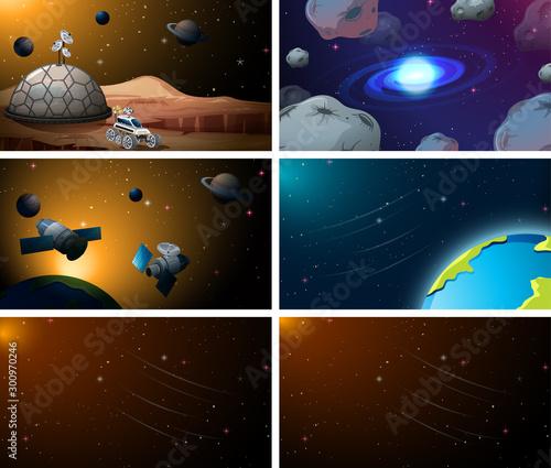 Papiers peints Jeunes enfants Set of space scenes