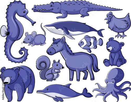 Tuinposter Kids Isolated set of many animals in purple color