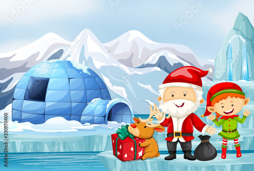 Tuinposter Kids Christmas scene with Santa and elf