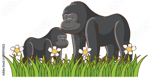 Foto auf Gartenposter Kinder Isolated picture of gorillas in the park