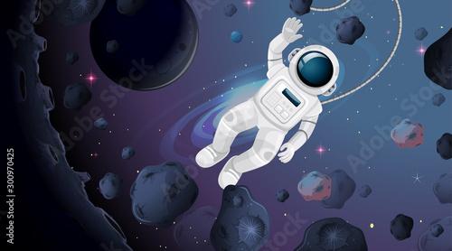 Papiers peints Jeunes enfants Astronaut in space scene