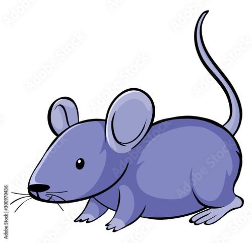Poster Jeunes enfants Purple mouse on white background
