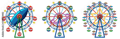 Papiers peints Jeunes enfants Three designs of ferris wheels on white background