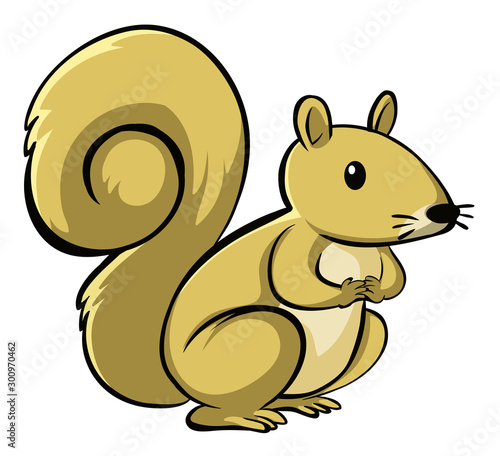Papiers peints Jeunes enfants Yellow squirrel on white background