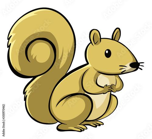 Poster Jeunes enfants Yellow squirrel on white background