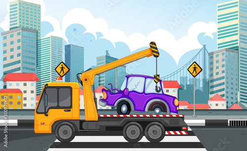 Poster Jeunes enfants Tow truck lifting car on the road
