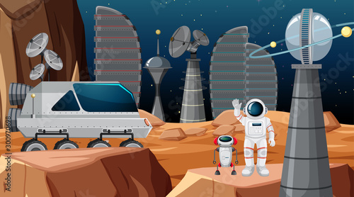 Poster Jeunes enfants Astronaut in space scene