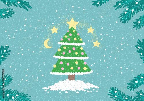 Spoed Fotobehang Lichtblauw Cute Christmas Greeting Card