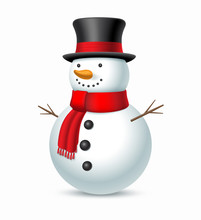Christmas Snowman With Hat And Scarf Isolated On White Background. Vector Illustration