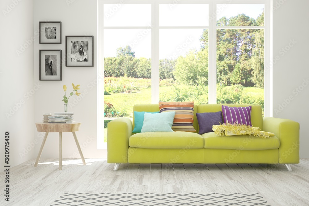 Fototapeta Stylish room in white color with sofa and summer landscape in window. Scandinavian interior design. 3D illustration