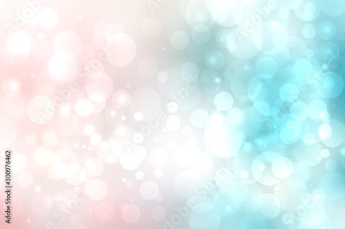Keuken foto achterwand Lichtblauw Abstract blurred festive delicate winter christmas or Happy New Year background texture with shiny light turquoise pink and bright bokeh lighted stars. Card concept.